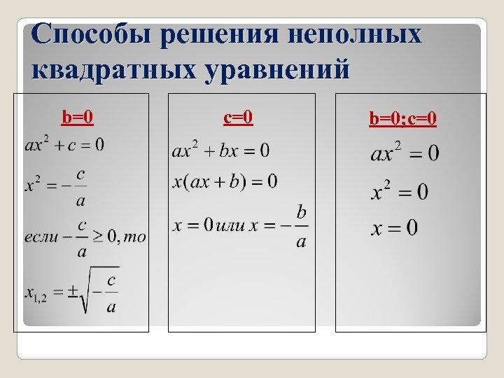 Способы решения неполных квадратных уравнений b=0 c=0 b=0; c=0