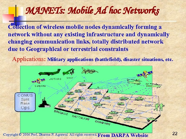 MANETs: Mobile Ad hoc Networks Collection of wireless mobile nodes dynamically forming a network