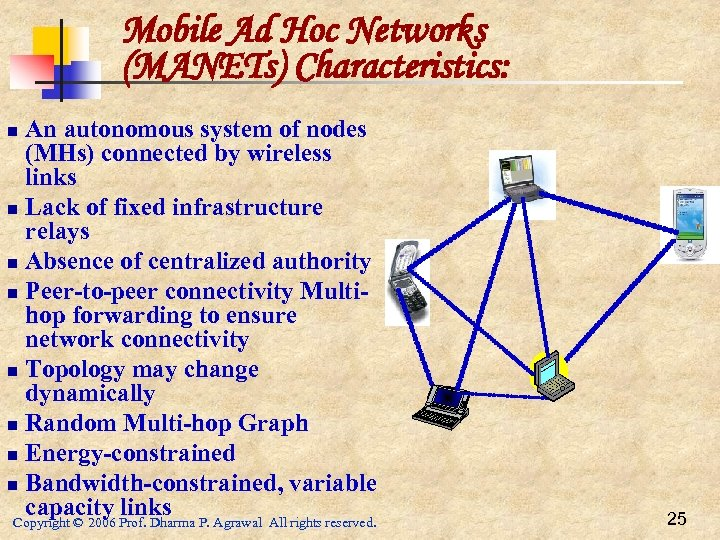 Mobile Ad Hoc Networks (MANETs) Characteristics: An autonomous system of nodes (MHs) connected by