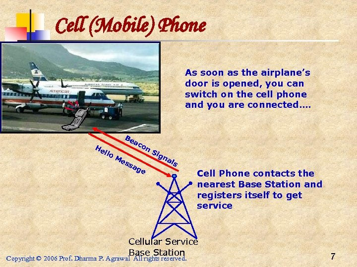 Cell (Mobile) Phone As soon as the airplane's door is opened, you can switch