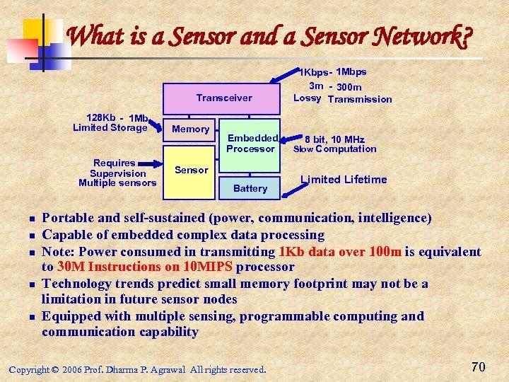 What is a Sensor and a Sensor Network? Transceiver 128 Kb - 1 Mb