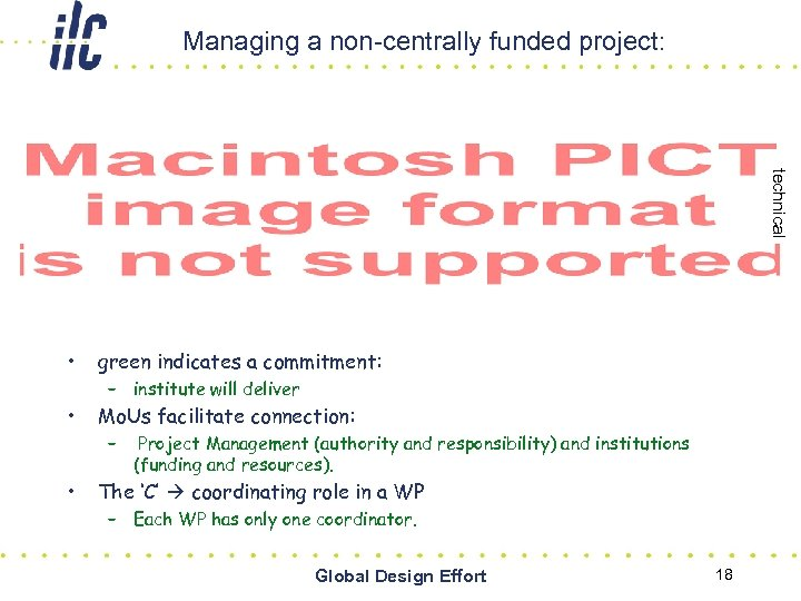 Managing a non-centrally funded project: technical • green indicates a commitment: • Mo. Us