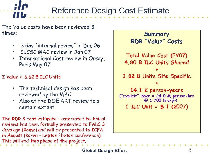Reference Design Cost Estimate The Value costs have been reviewed 3 times: • 3