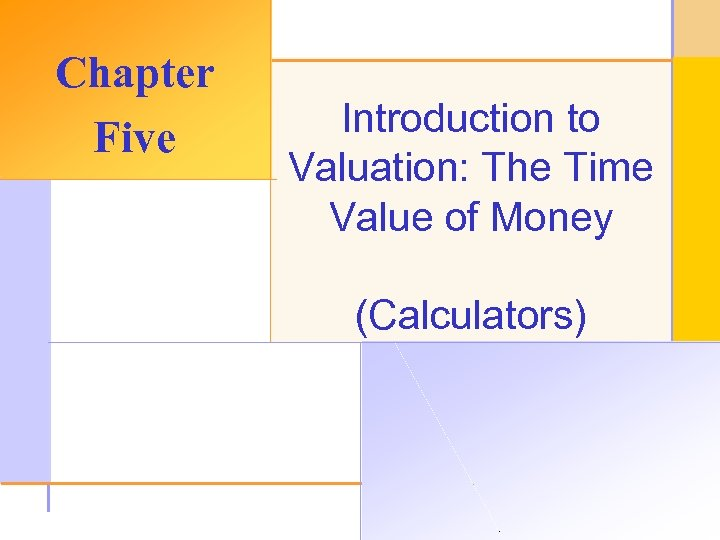 Chapter Five Introduction to Valuation: The Time Value of Money (Calculators) © 2003 The