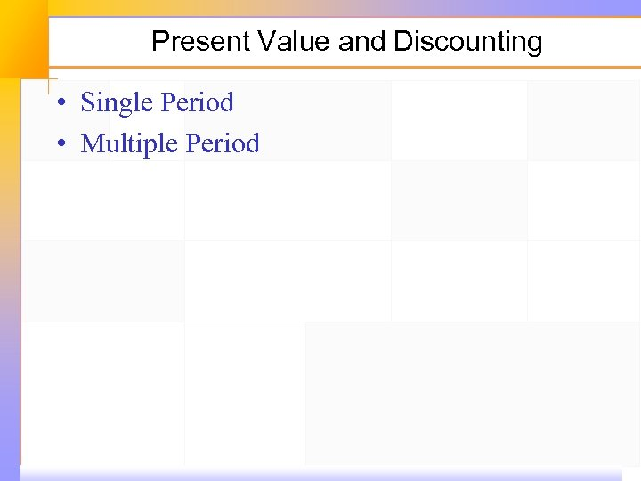 Present Value and Discounting • Single Period • Multiple Period