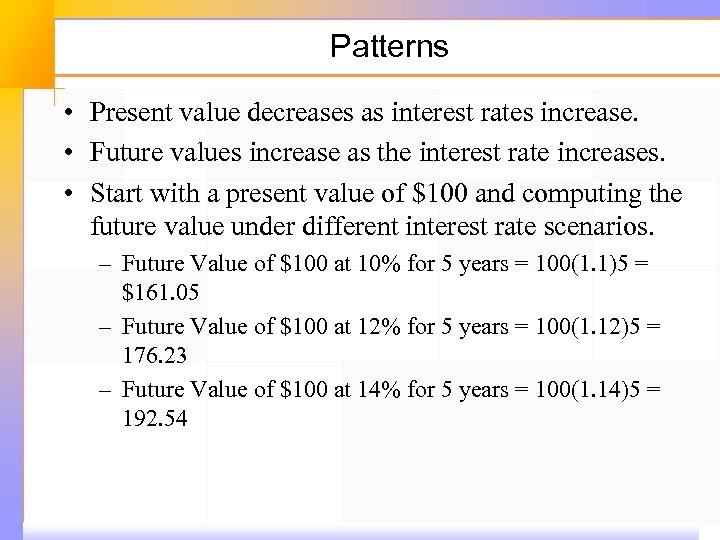 Patterns • Present value decreases as interest rates increase. • Future values increase as