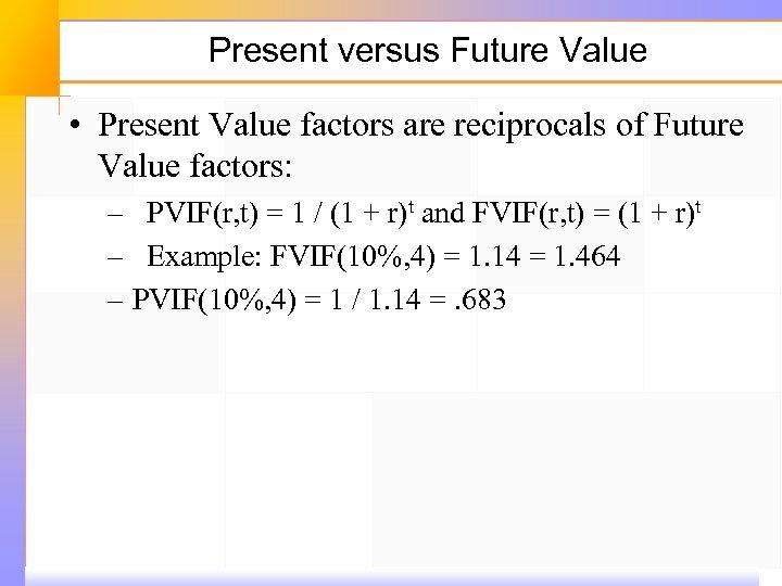 Present versus Future Value • Present Value factors are reciprocals of Future Value factors: