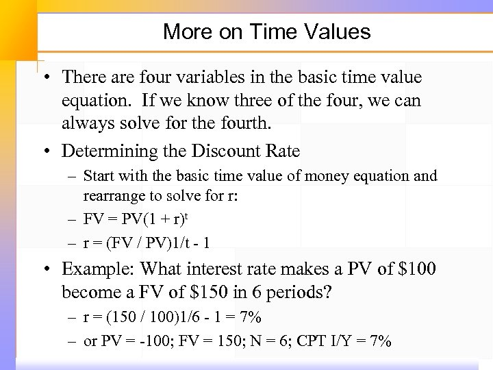 More on Time Values • There are four variables in the basic time value