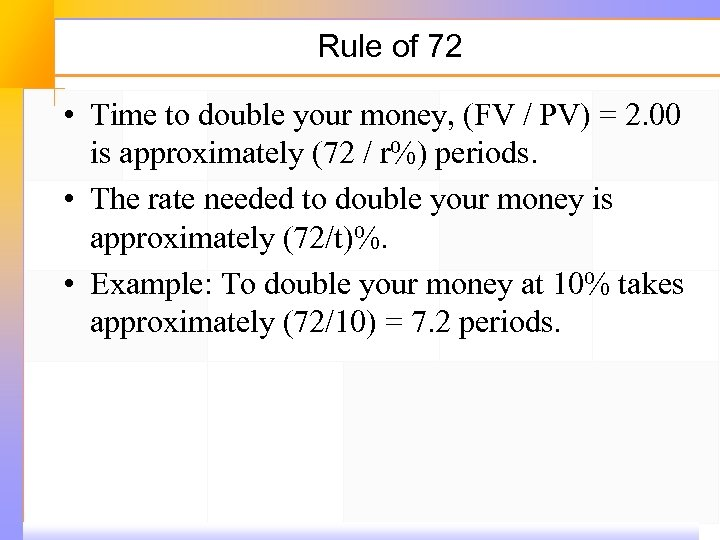 Rule of 72 • Time to double your money, (FV / PV) = 2.