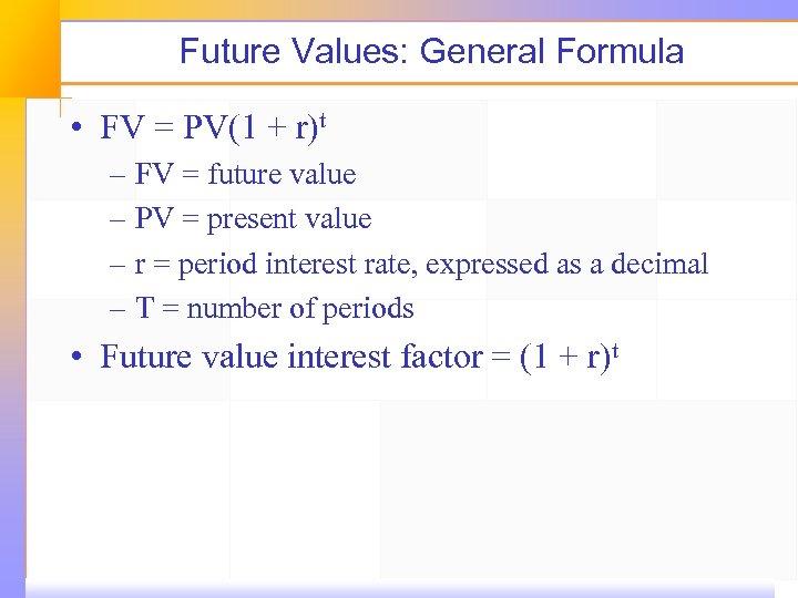 Future Values: General Formula • FV = PV(1 + r)t – FV = future