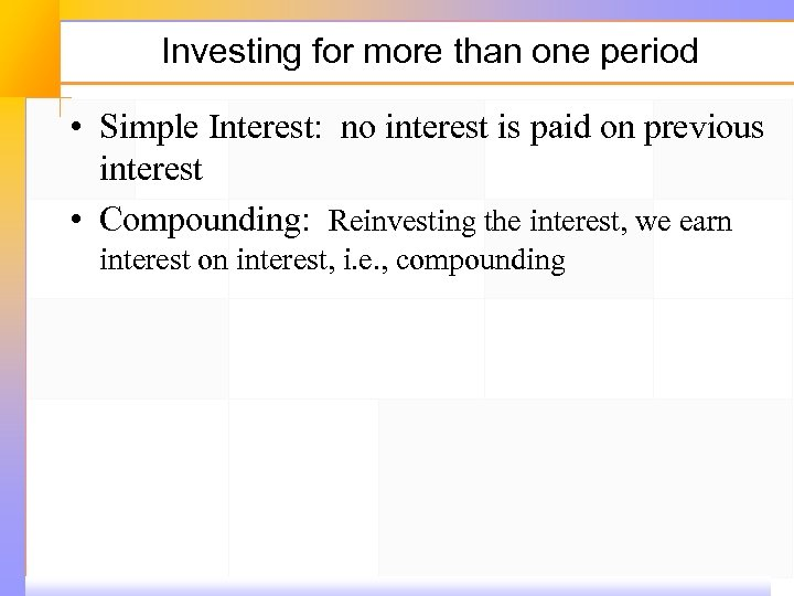 Investing for more than one period • Simple Interest: no interest is paid on