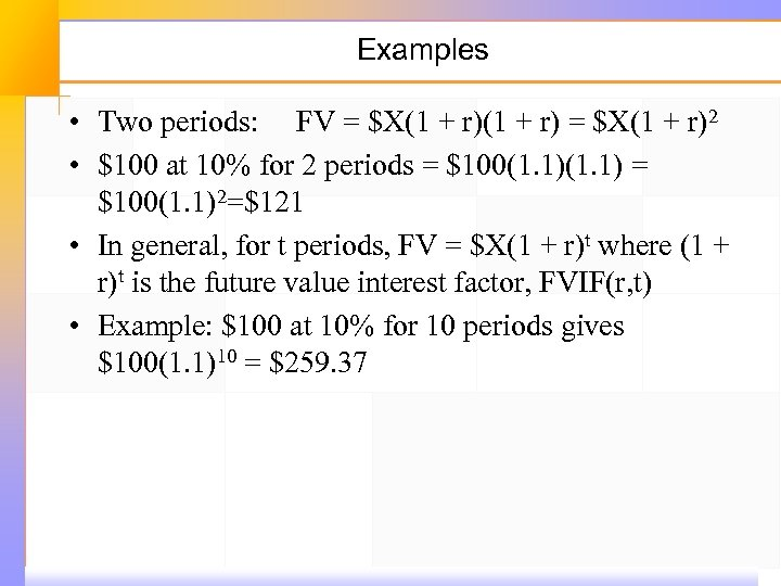 Examples • Two periods: FV = $X(1 + r)2 • $100 at 10% for