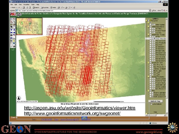 """1166 """"granules"""" available http: //aspen. asu. edu/website/Geoinformatics/viewer. htm ASTER level-1 B data have had"""