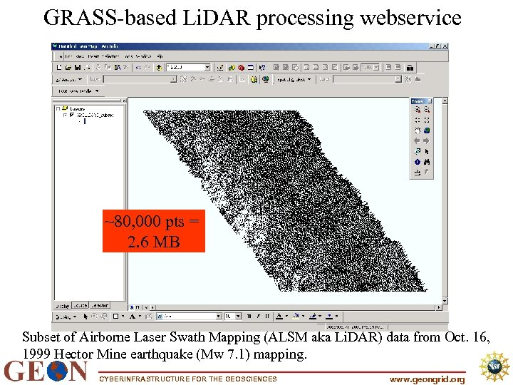 GRASS-based Li. DAR processing webservice ~80, 000 pts = 2. 6 MB Subset of