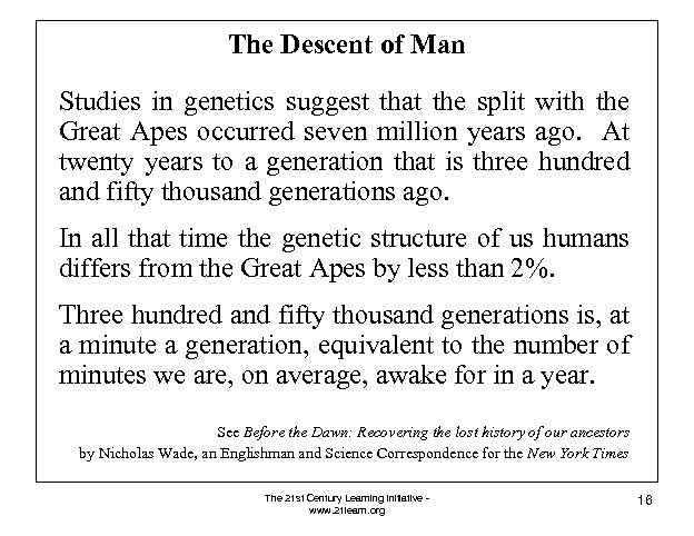 The Descent of Man Studies in genetics suggest that the split with the Great