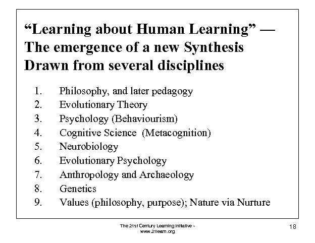 """""""Learning about Human Learning"""" — The emergence of a new Synthesis Drawn from several"""