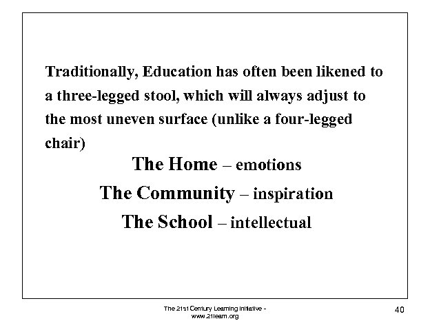 Traditionally, Education has often been likened to a three-legged stool, which will always adjust
