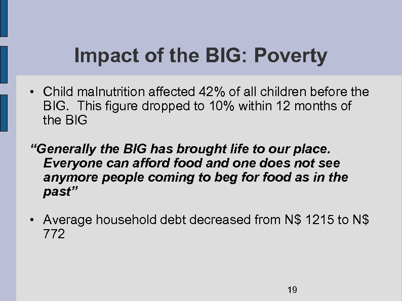 Impact of the BIG: Poverty • Child malnutrition affected 42% of all children before