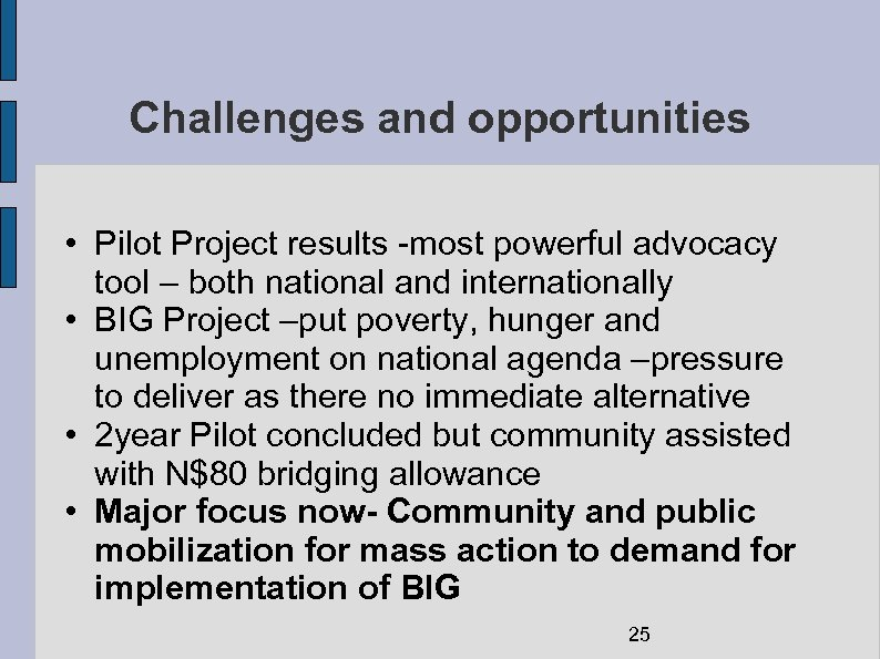 Challenges and opportunities • Pilot Project results -most powerful advocacy tool – both national