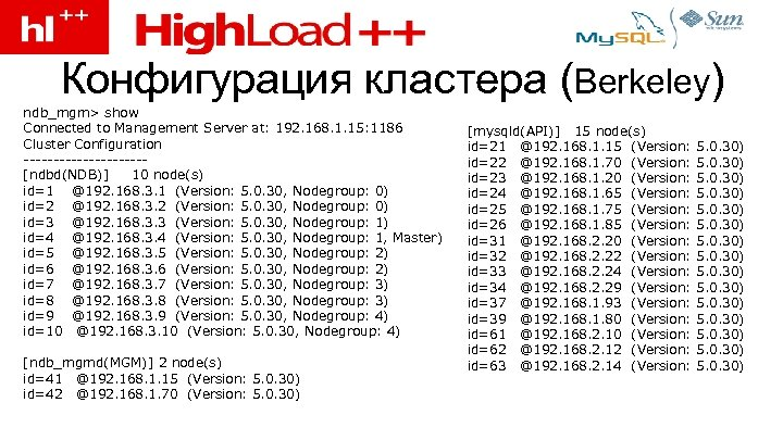 Конфигурация кластера (Berkeley) ndb_mgm> show Connected to Management Server at: 192. 168. 1. 15: