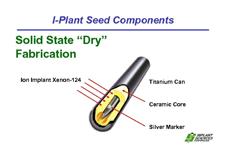 """I-Plant Seed Components Solid State """"Dry"""" Fabrication Implant Xenon-124 Titanium Can Ceramic Core Silver"""