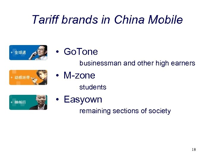 Tariff brands in China Mobile • Go. Tone businessman and other high earners •