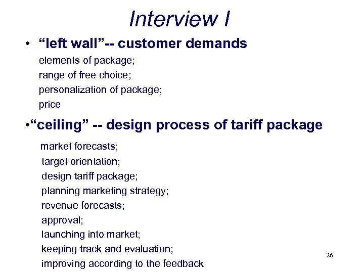 """Interview I • """"left wall""""-- customer demands elements of package; range of free choice;"""