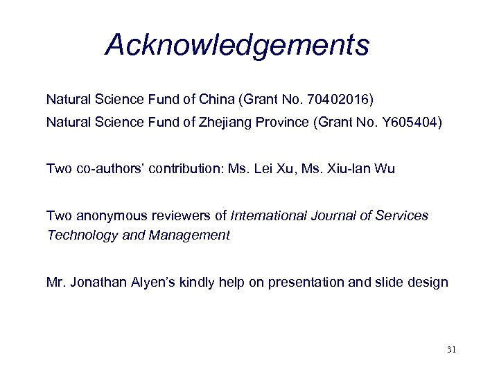 Acknowledgements Natural Science Fund of China (Grant No. 70402016) Natural Science Fund of Zhejiang