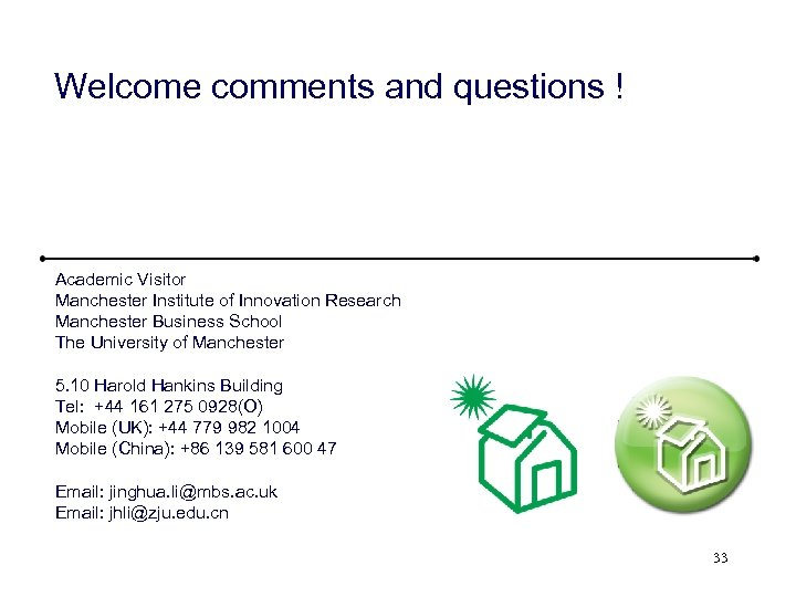 Welcome comments and questions ! Academic Visitor Manchester Institute of Innovation Research Manchester Business