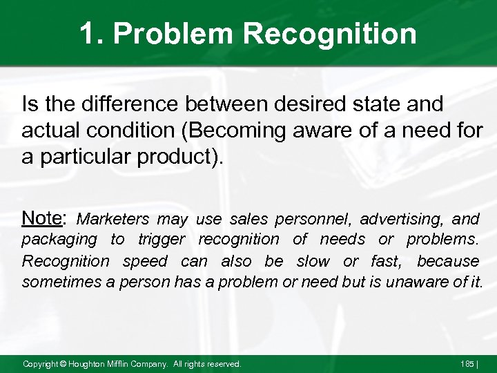 1. Problem Recognition Is the difference between desired state and actual condition (Becoming aware