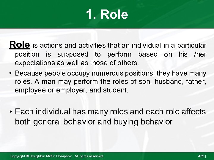 1. Role is actions and activities that an individual in a particular position is