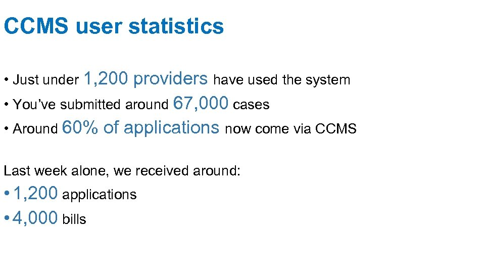 CCMS user statistics • Just under 1, 200 providers have used the system •