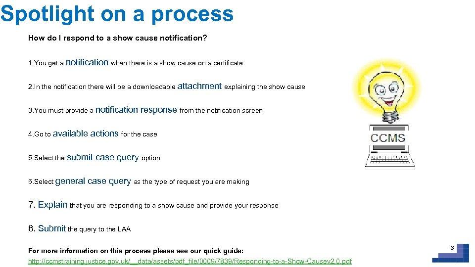 Spotlight on a process How do I respond to a show cause notification? 1.