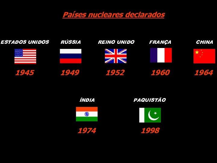 Países nucleares declarados ESTADOS UNIDOS RÚSSIA REINO UNIDO FRANÇA CHINA 1945 1949 1952 1960