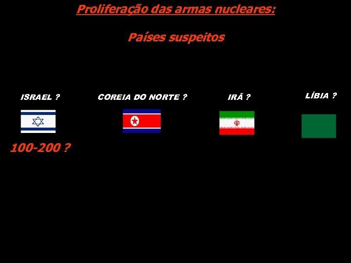 Proliferação das armas nucleares: Países suspeitos ISRAEL ? 100 -200 ? COREIA DO NORTE