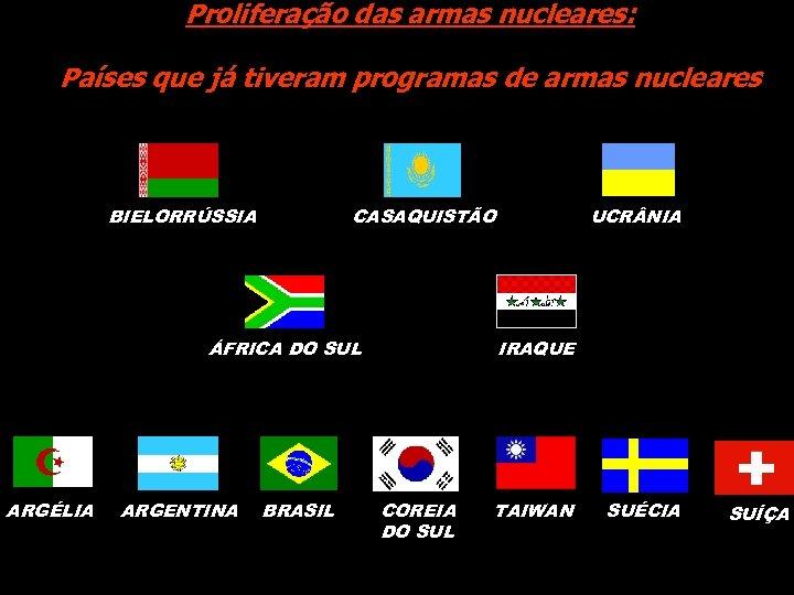 Proliferação das armas nucleares: Países que já tiveram programas de armas nucleares BIELORRÚSSIA CASAQUISTÃO