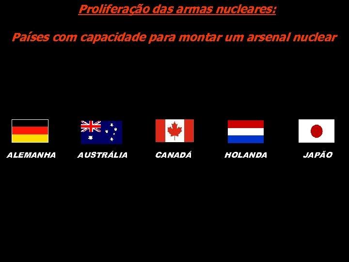 Proliferação das armas nucleares: Países com capacidade para montar um arsenal nuclear ALEMANHA AUSTRÁLIA