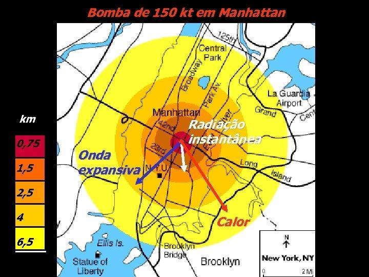 Bomba de 150 kt em Manhattan km 0, 75 1, 5 Onda expansiva Radiação