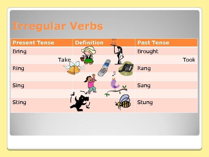 Irregular Verbs Present Tense Definition Bring Past Tense Brought Take Took Ring Rang Sing
