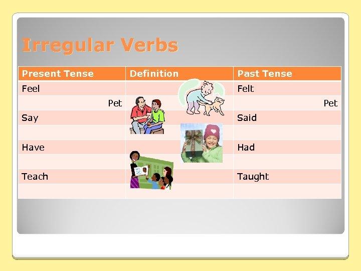Irregular Verbs Present Tense Definition Feel Past Tense Felt Pet Say Said Have Had