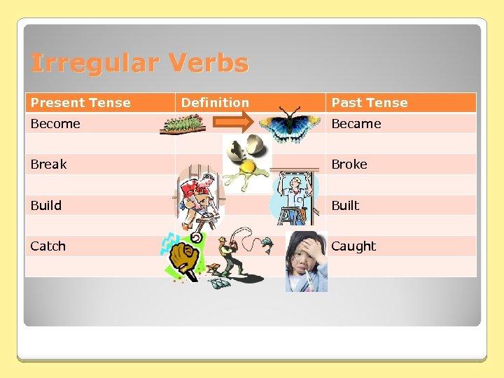 Irregular Verbs Present Tense Definition Past Tense Become Became Break Broke Build Built Catch
