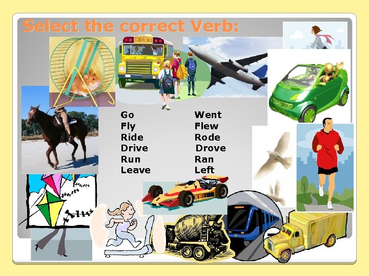 Select the correct Verb: Go Fly Ride Drive Run Leave Went Flew Rode Drove