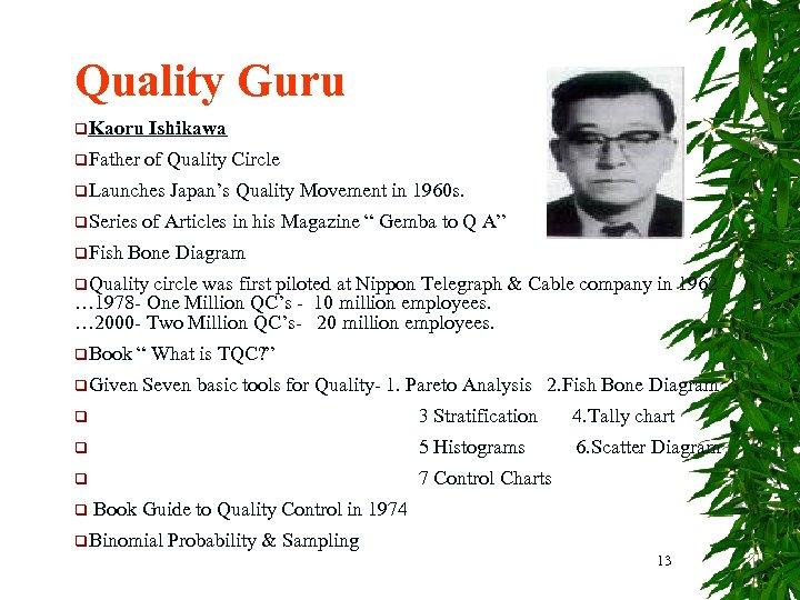 Quality Guru q. Kaoru Ishikawa q. Father of Quality Circle q. Launches q. Series
