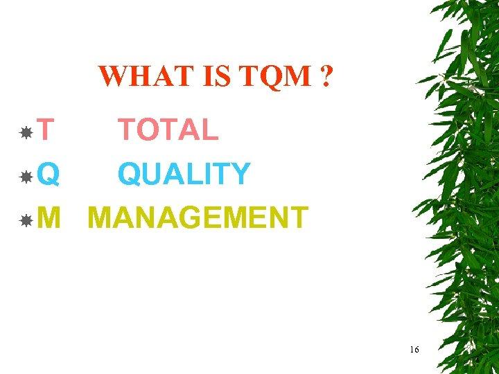WHAT IS TQM ? T TOTAL Q QUALITY M MANAGEMENT 16