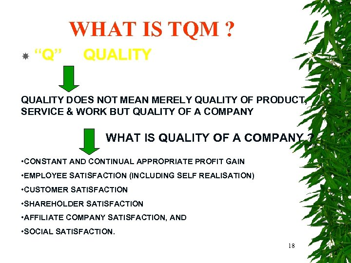 """WHAT IS TQM ? """"Q"""" QUALITY DOES NOT MEAN MERELY QUALITY OF PRODUCT, SERVICE"""