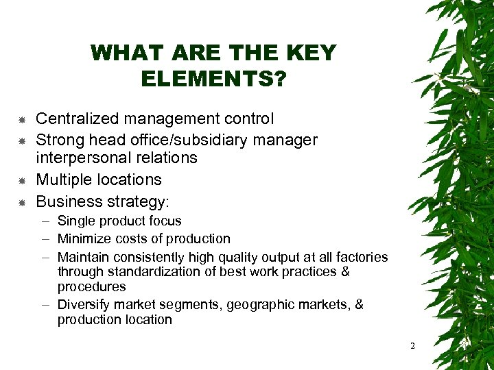 WHAT ARE THE KEY ELEMENTS? Centralized management control Strong head office/subsidiary manager interpersonal relations