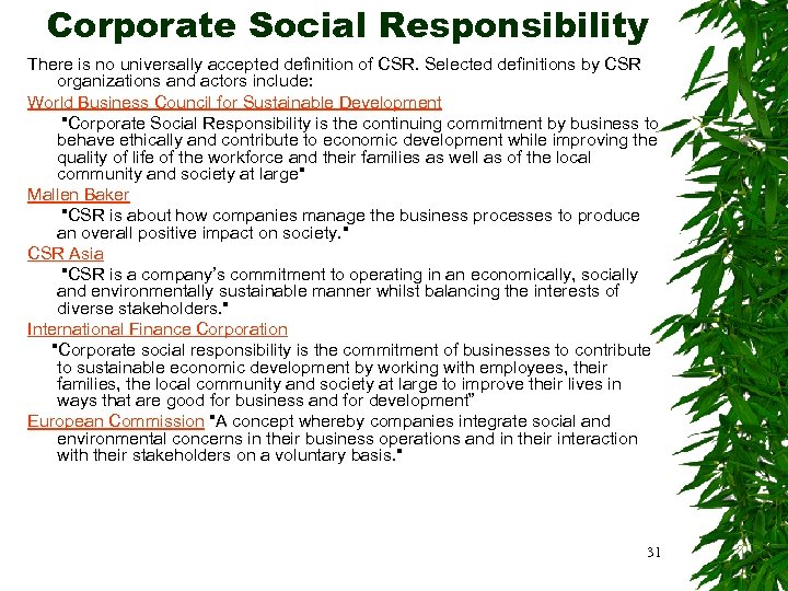 Corporate Social Responsibility There is no universally accepted definition of CSR. Selected definitions by