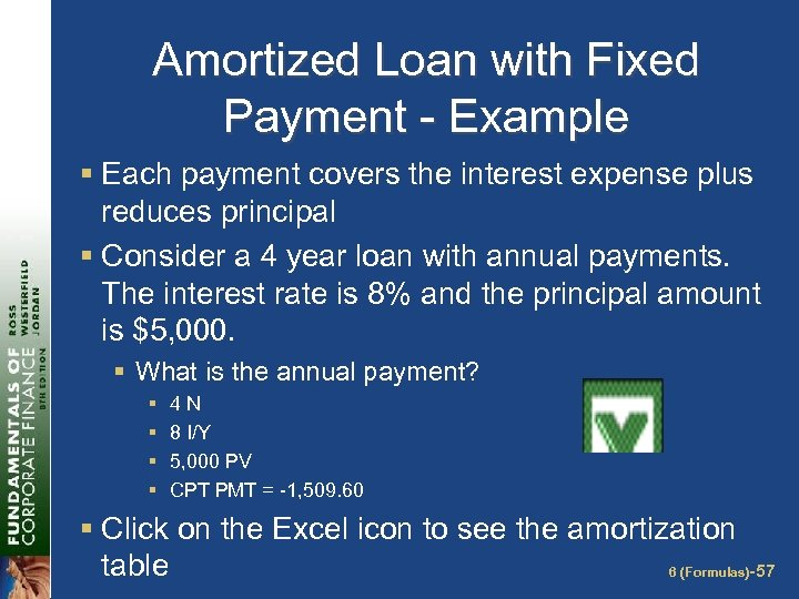 Amortized Loan with Fixed Payment - Example § Each payment covers the interest expense