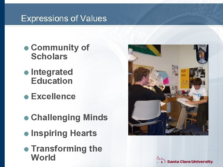 Expressions of Values = Community of Scholars = Integrated Education = Excellence = Challenging