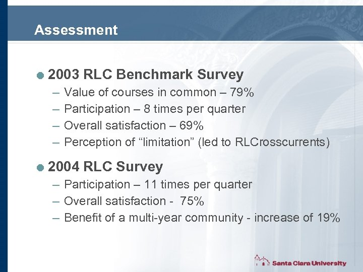 Assessment = 2003 RLC Benchmark Survey – Value of courses in common – 79%